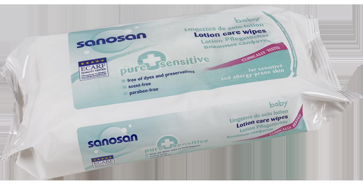 სანოსანი  Pure & sensitive - სველი ხელსახოცი მგრძნობიარე კანისათვის / SANOSAN LOTION CARE WIPES